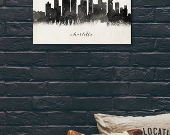 Charlotte Skyline, Black and White,Digital Watercolor Art Print, Modern Home Decor ,No,556