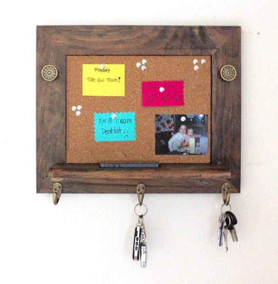 Cork board organizer with key rack and shelf by for Cork board with hooks