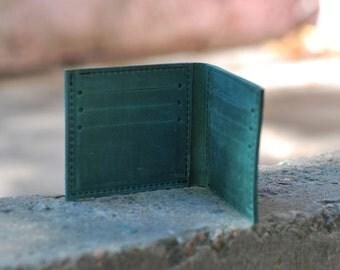 Genuine leather handmade wallet for men, small wallet for men, W002 Green