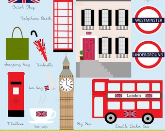 London Clip Art Big Ben Double Decker Bus Townhouse British Clip Art