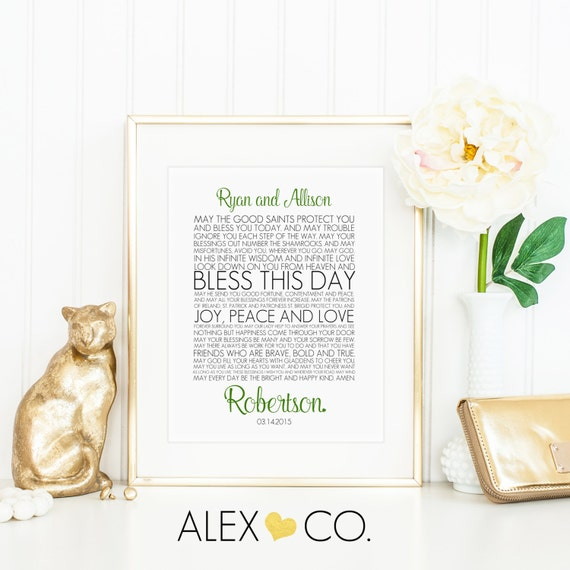 Personalized Irish Wedding Blessing By Alexandcoprintables