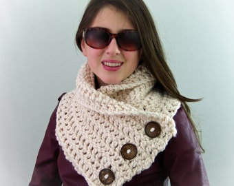 Crochet Chunky Boston Harbor Scarf with Buttons in Cream