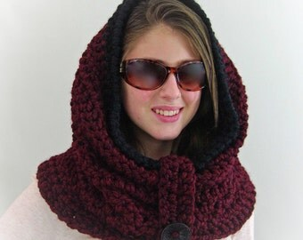 Crochet Chunky Infinity Hooded Cowl, Hoodie in Bordeaux Red