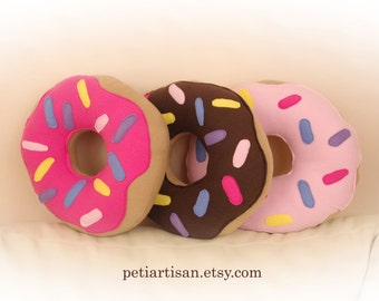 Donut Pillow, Food Pillow, Doughnut Pillow, Chocolate Frosted Doughnut, Pink Frosted Doughnut, Toy Pillow, 3D Pillow