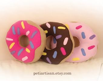 Donut Pillow, Food Pillow, Doughnut Pillow, Chocolate Frosted Doughnut, Pink Frosted Doughnut, Toy Pillow, 3D Pillow