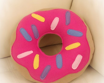 Doughnut Pillow, Donut Pillow, Food Pillow, Pink Frosting Pillow, Toy Pillow, 3D Pillow