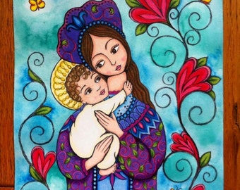 Russian style Madonna and child - Print of an original watercolor and prismacolor painting 9' x 12""