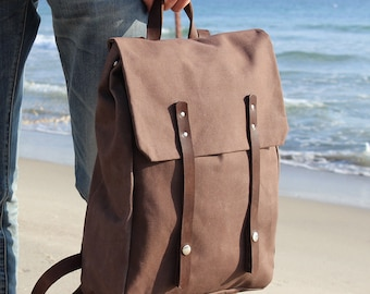 Waxed Canvas Backpack with brown leather details, Waxed Canvas Rucksack, brown