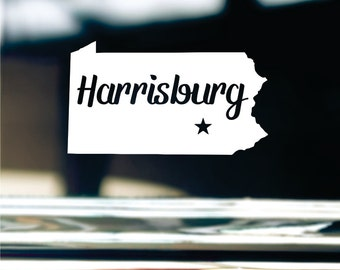 Harrisburg Pennsylvania State Sticker For Car Window, Bumper, Or Laptop