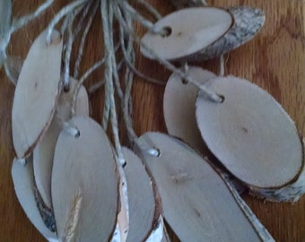Gift Tags,  20, Oval, White  Birch. Wood Slices, Hang Tags, Gift Tags, Rustic, Hand made Hang Tags