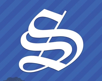 Old English Letter S Initial Vinyl Decal Sticker Diploma Font