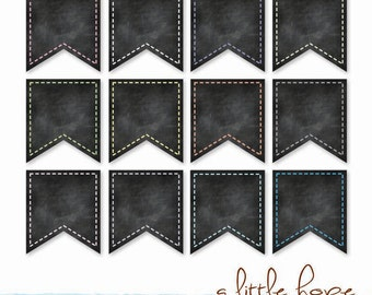 Chalkboard Flags Clip Art - 12 Digital PNG Files / clip art / Digital Scrapbooking / Personal and Commercial Use