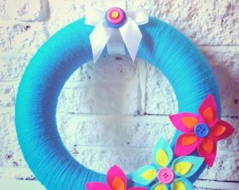 Blue Tropical Yarn Wool Wreath