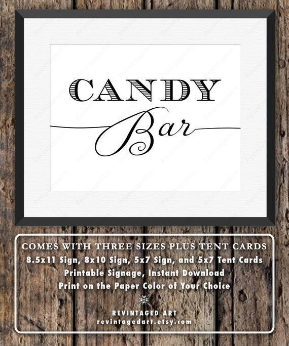 Candy Bar Sign for Weddings, Showers, & Party Buffet ...