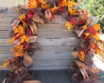 10' Fall Garland Fall Leaf Garland Fall Deco Mesh Garland Fall Leaf Swag Brown/Orange Garland Maple Leaf Garland Fall Leaf Mesh Door Decor