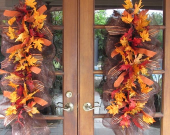 Fall Door Decor- Fall Teardrop- Fall Door Swag- Leaf Door Swag- Leaf Teardrop- Deco Mesh Teardrop- Thanksgiving Door Swag- Fall Door Decor