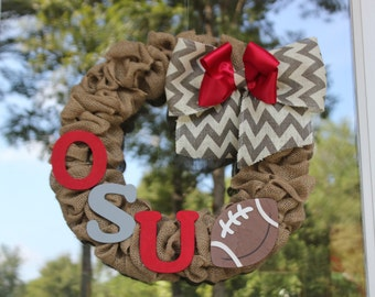 Ohio State Burlap Wreath - Football wreath - OSU Wreath -Buckeyes wreath