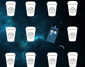 Doctor Who TARDIS and Coffee Cups Art Print 5 x 7, 8 X 10