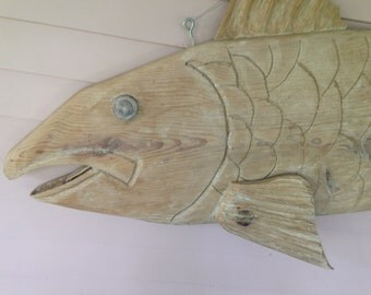 Vintage Hand Carved Fish - Large  7 Feet Long- Rustic Decor - Shop Sign - Address Sign - Large Wall Decor - Beach Decor