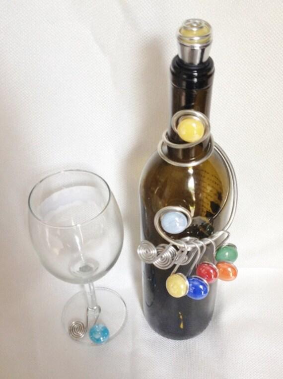 Wine Stopper/Hanger & Charm Set #2,  Wine Bottle Decor, Wine Glass Charms, Beaded Stopper, Bar Decor, Wine Bottle Dress, wine charms