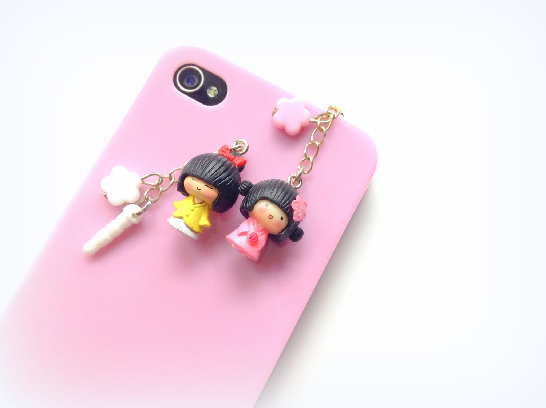 Kawaii Japanese Doll Geisha Charm Cute Dust Plug Cherry