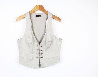 Double Breasted Grey Light Vest Women Waistcoat Military Nautical Style Darg Vintage /  Large
