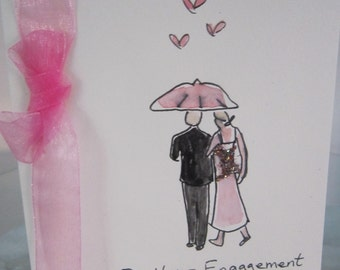 Engagement Card, watercolour original, blank, can be personalised, daughter card, son card, special couple card, handpainted card, handmade