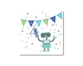 Children's boy, birthday card, 4 year old, Happy Birthday, fun, birthday, robot, greetings card