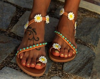 "Hippie Chic Sandals, Greek Leather Sandals, ""Daisy"""