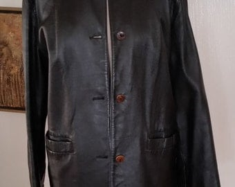 SALE!  Vintage Lord and Taylor Ebony Leather Jacket with Wooden Buttons