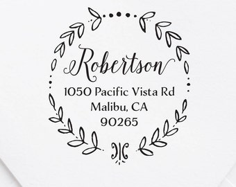 Return Address Stamp, Wreath Address Stamp, Self Inking Stamp, Personalized Stamp