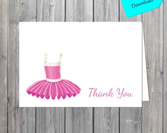Ballerina Thank You Card/ Shabby chic  Thank You Card/ Kids Thank You Cards INSTANT download also available professionally printed