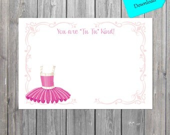 Tutu flat Thank You Card, ballerina Thank You tutu theme note cards INSTANT download also available professionally printed