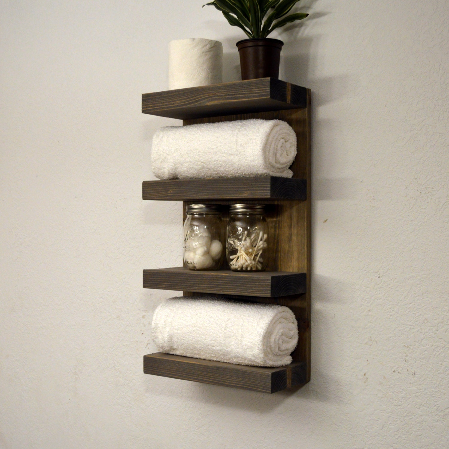 hotel style towel rack 4 tier bath storage by rusticmoderndecor. Black Bedroom Furniture Sets. Home Design Ideas