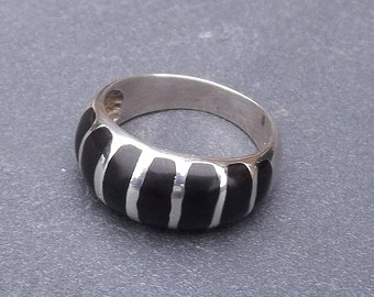 Silver Onyx Ring, UK size K ~ US size 5 1/2