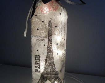 Paris Wine Bottle Lamp | French Decor |  Paris Gifts | Wine Bottle Accent Lamp | Paris Decor | Eiffel Tower Decor | Night Light