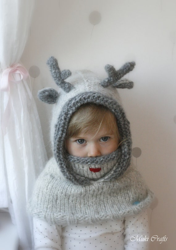 Knitting Pattern For Reindeer Antlers : KNITTING PATTERN hooded cowl reindeer Rudolph with by MukiCrafts