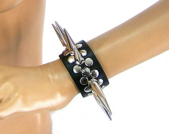 Full Metal Punk Spiked Leather Wristband