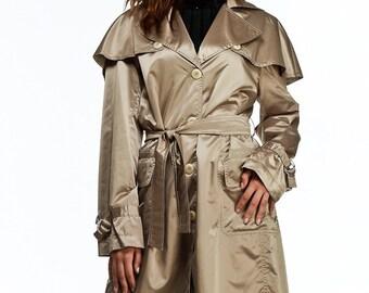 Contemporary trench coat with detachable cape / shiny raincoat / womens jacket / womens raincoat