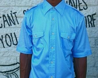 Mens Vintage Retro Blue and White Polkadot Button Down Shirt Medium/Large