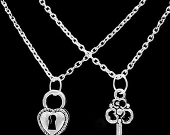 2 Necklaces Lock And Key To My Heart Couple's His And Hers Boyfriend Girlfriend Necklace Set