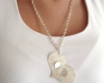Silver Heart necklace Silver long chain necklace Extra long necklace Heart Pendant Goldsmith metalwork heart jewelry, Heart chain necklace