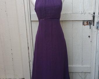 Royal Purple Long Halter Dress Vintage 1970s Empire Waist Gown Medium