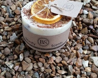 Handmade Scented Soy Candle With Shredded Cinnamon Sticks D 7.5 H 5 cm