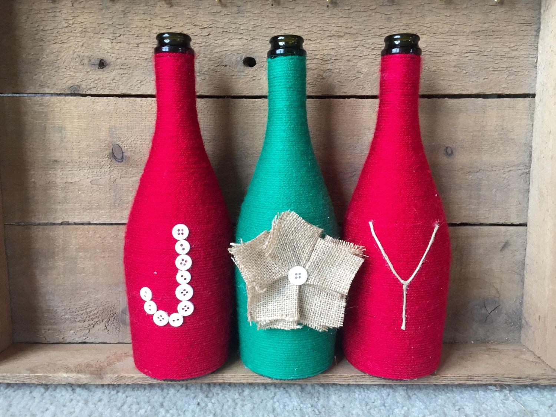 Yarn Wrapped Bottles Wine Bottles Holiday Christmas Decor