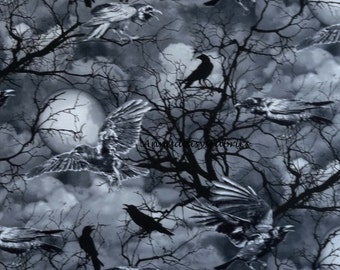 Crow Fabric, Timeless Treasures Wicked Eve C3762, Ravens Fabric, Halloween Landscape Fabric, Crows, Moon & Skeletal Trees, Spooky Cotton