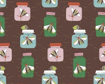 Firefly Fabric, Windham 40263 Mouse Camp by Erica Hite, Fireflies in Jars, Cotton Children's Fabric, Camping Fabric, Bugs & Insect Fabric