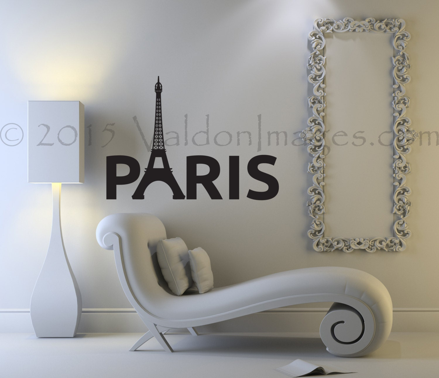 eiffel tower wall decal paris wall decal living room wall. Black Bedroom Furniture Sets. Home Design Ideas