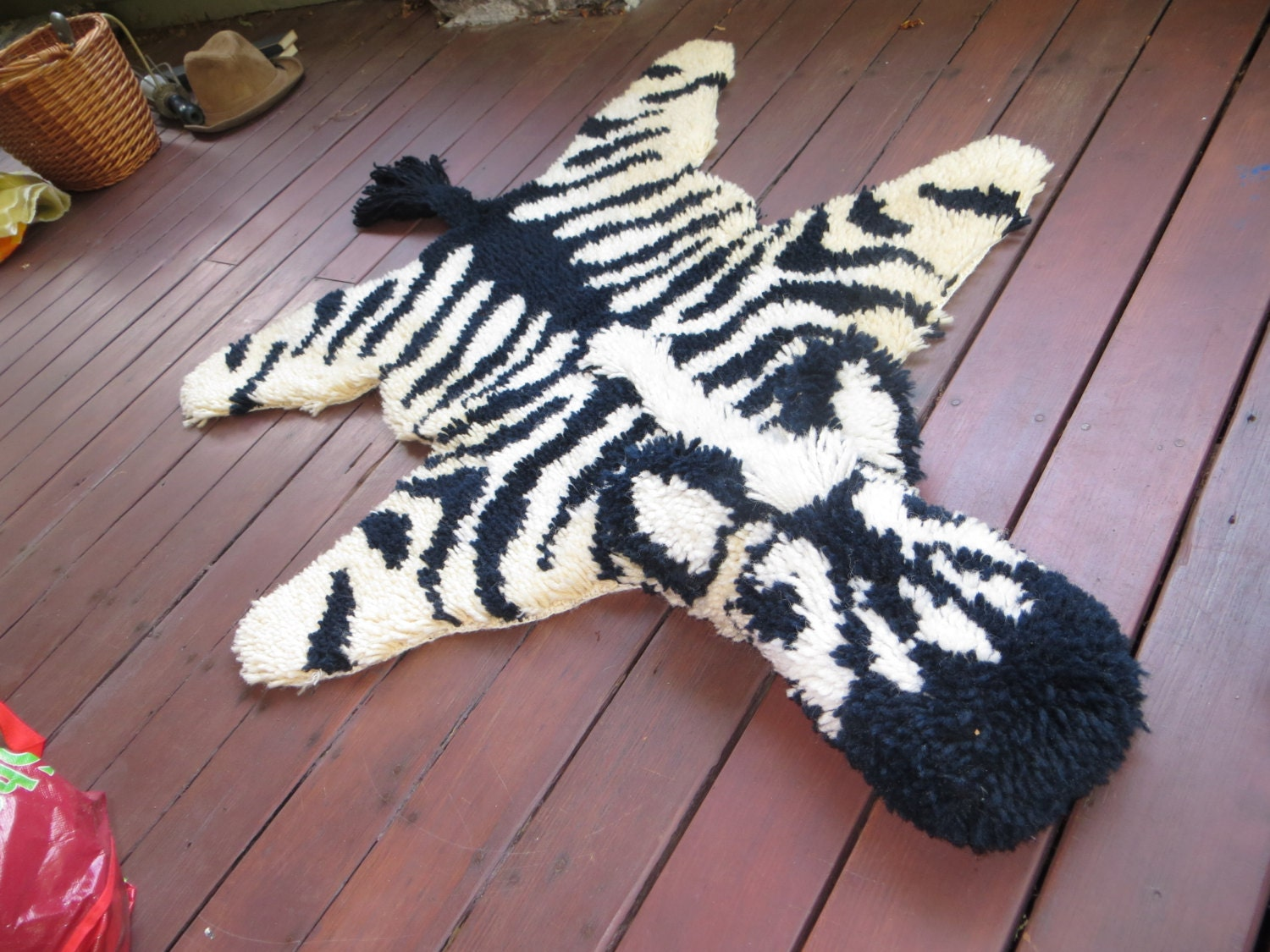 Faux Zebra Rug Hand Latch Hooked Vintage Animal