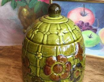 Vintage 1970's Green Floral Beehive Cookie Jar Los Angeles Potteries